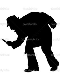spy with flash light clip art | detective silhouette