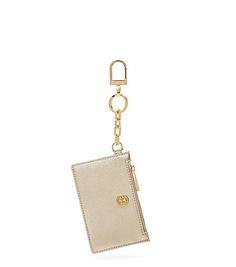Tory Burch Robinson Metallic Zip Card Key Fob