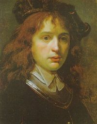 Omgeving van Gerard Dou: Portret van een jonge man met een baret. Na ca. 1635. Privé collectie. Voorheen toegeschreven aan de omgeving van Godfried Schalcken.