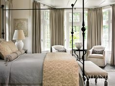 "georgianadesign: ""Architect Peter Block and designer Joel Kelly in Buckhead, GA. Atlanta Homes & Lifestyles. Pretty Bedroom, Dream Bedroom, Home Bedroom, Master Bedroom, Bedroom Decor, Tranquil Bedroom, Master Suite, Interior Exterior, Interior Design"