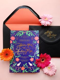 Colorful Mexican Fete-Inspired Wedding Invitations by BerinMade / Oh So…