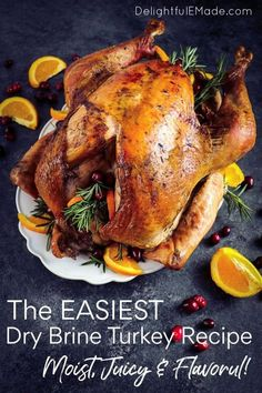 This simple method for How to Dry Brine a Turkey is easy and a great way to add additional flavor to your bird! My Dry Brine Turkey Recipe includes rosemary, citrus and allspice - once you brine your turkey with this recipe, you'll never go back! || Delightful E Made