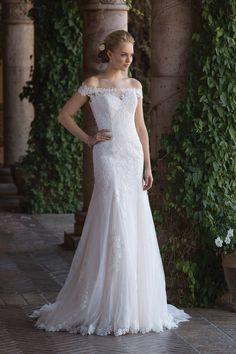 Sincerity Bridal Illusion Lace Off the Shoulder Trumpet Gown