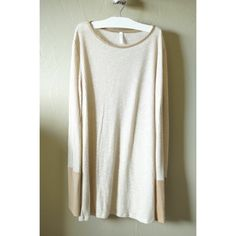 Knit light sweater with suede cuffs Worn once. In great condition. Pink Blush Tops Tees - Long Sleeve