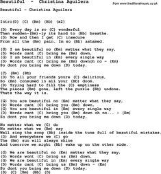 Song Beautiful  by  Christina Aguilera, with lyrics for vocal performance and accompaniment chords for Ukulele, Guitar Banjo etc.