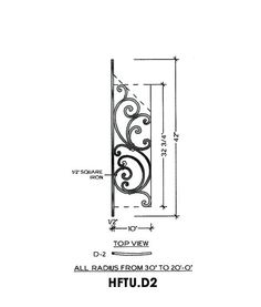 Tuscany Panel Piece D2 Flat Panel, Fits Angles 20° to 48° 10″ wide 42″ tall 1/2″ Square Iron This is the Tuscany D2 wrought iron panel made by Regency Railings. It is a flat panel that fits angles 20° to 48°
