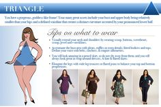 DIY How to Dress Your Shape Infographic from IGIGI Good suggestions, but really wear whatever you want to. Life is too short to conform to what you think others want you to look like. Dress to please yourself. Wear what you love. Designer Plus Size Clothing, Plus Size Designers, Plus Size Fashion Blog, Triangle Shape, Upper Body, Body Shapes, Fashion Advice, Style Guides, What To Wear