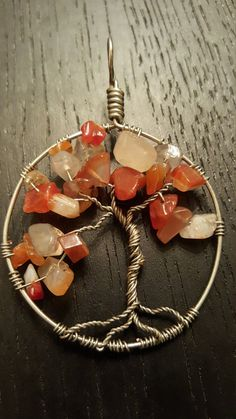 Autumn Wire-Wrapped Tree of Life Pendant