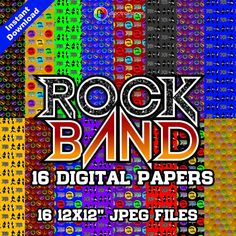 "ROCK BAND - Digital Paper - 16 jpeg files 12x12"" 300 dpi for Cardmaking, Scrapbooking, Party Decorations and More - Instant Download by ElectroPaper on Etsy"