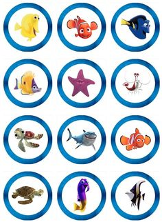 Edible FINDING NEMO Cupcake Toppers 12 edible images for Cupcakes, cookies, brownies or any dessert birthday. $6.00, via Etsy.