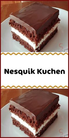 """A delicious delicious cake with a """"Nesquik taste"""". The cast of chocolate sugar and sour cream gives this cake a great taste. The post Nesquik Cake appeared first on Dessert Factory. Easy Cookie Recipes, Cake Recipes, Dessert Recipes, Dessert Blog, Brownie Desserts, Fall Desserts, Brownie Recipes, Food Cakes, Baking Cakes"""