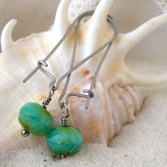 Turquoise Green Bead Earrings - Hypoallergenic Earrings - Glass Bead Earrings - Pure Titanium Earrings - Hypoallergenic Dangle Earrings by CraftLikeAnArtist on Etsy