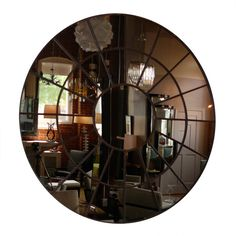 "70"" Round Bronze Architectural Mirror"