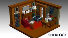 Sherlock Lego Detective Sherlock Holmes, Sherlock Bbc, Lego Office, Famous Detectives, Cool Lego Creations, Building Systems, Legos, Liquor Cabinet, Contemporary