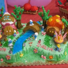 Smurfs Cake Made By My Cousin Sara!! Unfortunately She Lives In Italy :(