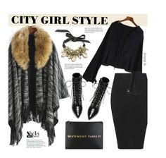 """""""Fall/Winter Street Style"""" by beebeely-look ❤ liked on Polyvore featuring Givenchy, Yves Saint Laurent, StreetStyle, poncho, winterfashion, StreetChic and winterstyle"""