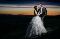 amazing night wedding bride and groom portrait photo at sunset Matt Shumate Photography at Arbor Crest Winery