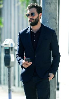 Jamie Dornan on the streets of LA - 2 November. - - Jamie Dornan on the streets of LA – 2 November… – - Jamie Dornan Beard, Jamie Dornan And Wife, Jaime Dornan, Christian Grey, Dakota Johnson, Formal Dresses For Men, Smart Casual Menswear, Calvin Klein, Sr1