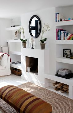 "The Simple Proof ""Room Inspiration"" this week finds us redesigning our family room fireplace to give our space a little more character Tall Fireplace, Fireplace Bookshelves, Home Fireplace, Fireplace Design, Farmhouse Fireplace, Fireplace Kitchen, Victorian Fireplace, Fireplace Mirror, Decorating Bookshelves"