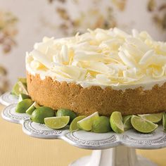 Lime Mousse Cake This creamy, no-bake dessert is bursting with fresh Key lime flavor.This creamy, no-bake dessert is bursting with fresh Key lime flavor. No Bake Desserts, Just Desserts, Delicious Desserts, Yummy Food, French Desserts, Key Lime Mousse, Key Lime Flavor, Chocolate Mousse Cake, White Chocolate