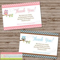 Polka Dot Owl Baby Shower Thank You Card by CSExpressions on Etsy