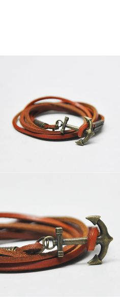Accessories :: Bracelets :: Triple Coil Antique Brass Sailor Charm-Bracelet 129 - Mens Fashion Clothing For An Attractive Guy Look