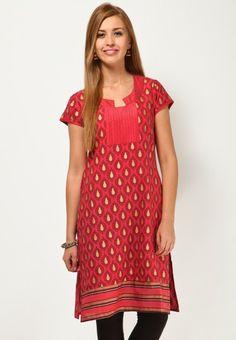 Short Sleeve Printed Red Kurti