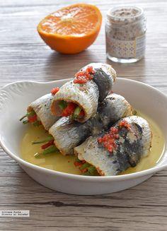 Rollitos de sardinas con verduras.