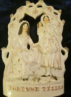 "Antique 1800s Staffordshire Large 12"" FORTUNE TELLER  Figure Figurine Statue"