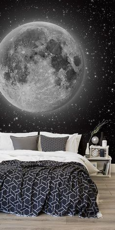 design wallpaper What's more magical than this space wallpaper mural? This mesmerising view of the moon and countless stars transport your bedroom to dreamy heights. Pair with monochrome bedding for a sophisticated space themed bedroom. Moon And Stars Wallpaper, Star Wallpaper, Wallpaper Murals, Kids Bedroom Wallpaper, Supreme Wallpaper, Wallpaper Space, Trendy Wallpaper, Dream Rooms, Dream Bedroom