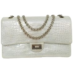 Chanel Reissue Silver Croc Leather Flap Bag 2.55 Luxury Handbags 92150a6b23f9d