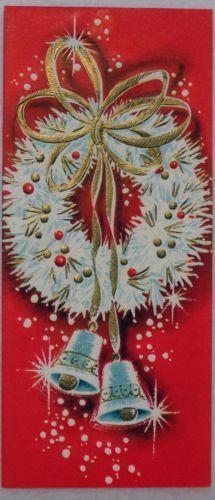 #1300 60s Unused Mid Century Wreath-Vintage Christmas Greeting Card
