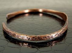 Etched and Hammered Copper Wire Bracelet for Men or Women - OOAK
