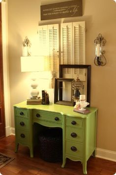 Another pic of lime green vanity.  The color is Huntington Green from Benjamin Moore.