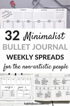 32 simple and minimalist bullet journal weekly spreads/layouts for new ideas! Do you prefer to have a minimalist style with your bullet journal? Here are 32 easy minimalist weekly spreads handpicked for you. Bullet Journal School, Bullet Journal Inspo, Doodle Bullet Journal, Bullet Journal Simple, Bullet Journal Weekly Spread Layout, Bullet Journal Layout Templates, Bullet Journal For Beginners, Bullet Journal Tracker, Bullet Journal Printables