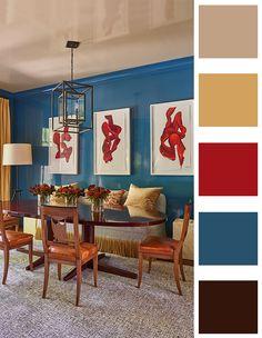Red Color Schemes, Red Colour Palette, Blue Colour Palette, Living Room Color Schemes, Living Room Colors, Bedroom Colors, Color Azul, Royal Blue Colour, Royal Colors