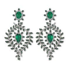 Asprey Fern Earrings. The Fern Earrings, with a pair of oval emeralds at the centre of the pear shape emerald drops, framed by fern leaves set with emeralds and diamonds. All set in platinum with black rhodium highlights