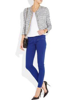 Victoria Beckham Denim|Twist mid-rise skinny jeans | cobalt