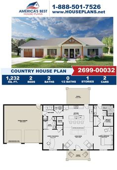 Make this charming Country home yours today! Plan 2699-00032 offers 1,232 sq. ft., 2 bedrooms, 2 bathrooms, a covered porch, a flex room, a mud room, an open floor plan and a kitchen island. Learn how to make this design yours on our website. Dormer Windows, Flex Room, Country House Plans, Mudroom, Square Feet, Facade, Architecture Design, Floor Plans, Exterior