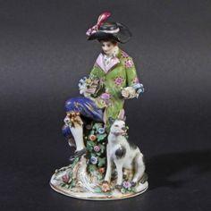 Fasold & Stauch Bock-Wallendorf Porzellanfigur alt Qualität Mann Hund porcelain