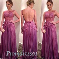 2015 classic purple lace chiffon open back fitted formal prom dress for tens, backless ball gown, high neck evening dress, winter formal #promdress #coniefox #2016prom