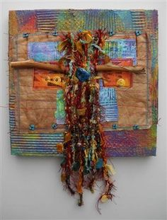 Talisman is a fiber piece stitched onto a recycled canvas by Thea (Heartjoy)