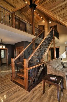 idea for stairs to master addon- Artisan inspired wrought iron railings and runners. This is beautiful, but I would have more straight bars! Linwood Homes, Escalier Design, Pole Barn Homes, Pole Barns, Log Cabin Homes, Log Cabins, Cabin Interiors, Style At Home, My New Room