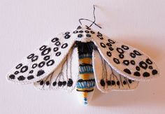Giant Leopard Tiger Moth Textile Statement Fiber Brooch  Entomology Natural History Woodland Accessory Luxury Gift Creature of the Night by BlueTerracotta on Etsy https://www.etsy.com/listing/255858403/giant-leopard-tiger-moth-textile