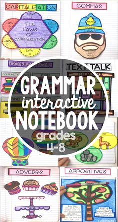 Grammar Interactive Notebook: 24 detailed lesson plans 48 foldables Writing Prompts teacher guidance posters supply list and so much more! Grammar Notebook, Interactive Writing Notebook, Writing Workshop, Interactive Notebooks, Writing Prompts, Grammar Activities, Teaching Grammar, Grammar Lessons, Ideas