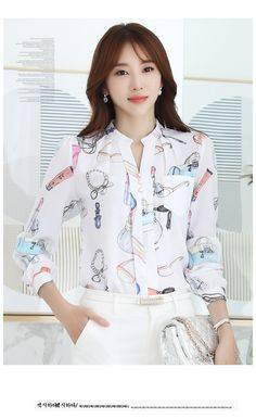 2017 Spring Korean V Neck Chiffon Blouse Floral Long Sleeve Shirt Women Slim Ladies Office Blusas Feminina Kurti Neck Designs, Blouse Designs, White Market, Chiffon Floral, Blouse Outfit, Printed Blouse, Classic Looks, Korean Fashion, Ideias Fashion