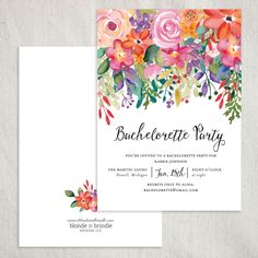 Absolutely stunning floral bachelorette party invitation! The perfect invitation for a spring or summer night out with the girls! Adorned with an abundance of lush cascading flowers; a seamless design for a garden party! This invitation is all about the details! Add a coordinating envelope to tie the whole design together! Blonde & Brindle Design Co.