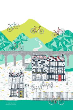 Tea towel by Jessica Hogarth, also greetings cards & limited edition prints available