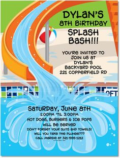 It's still officially summer, so let the kids splash and play! This invitation features fun and bright colors! http://www.creationsbyleslie.com/swimming-pool-slide-party-invitations/