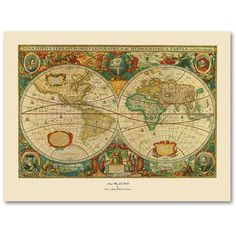 Time zones map of the world by michael tompsett ready to hang old world map painting canvas wall art 152 liked on polyvore featuring home sciox Image collections
